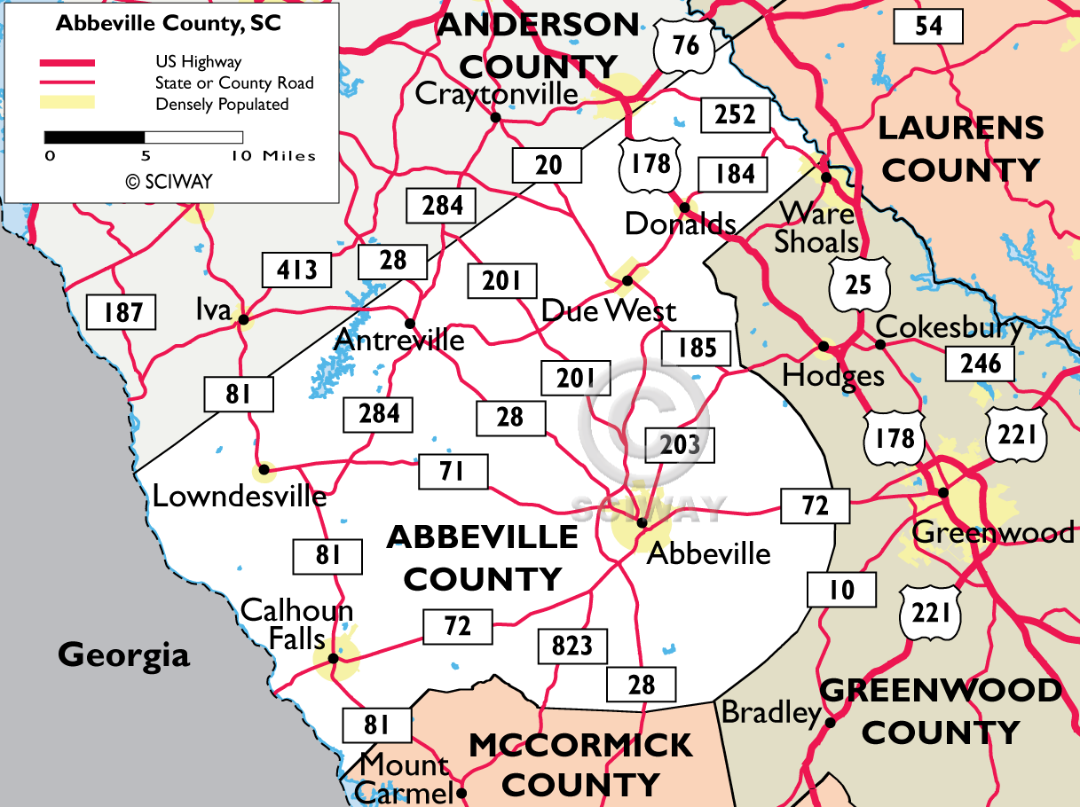 Maps Of Abbeville County South Carolina - South ga map