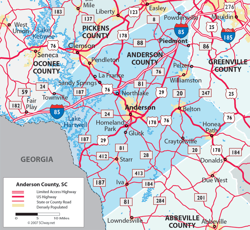 Maps Of Anderson County South Carolina